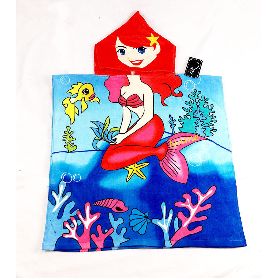 Mermaid (style 1) Chidlren's Personalized Poncho Beach Towel front
