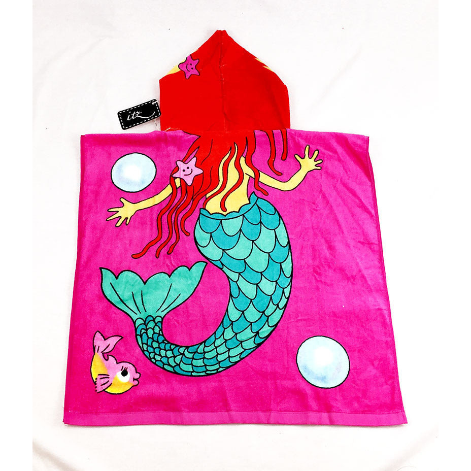 Mermaid (style 2)  Chidlren's Personalized Poncho Beach Towel back