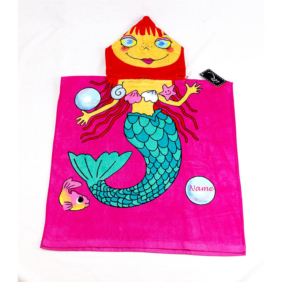 Mermaid (style 2)  Chidlren's Personalized Poncho Beach Towel front