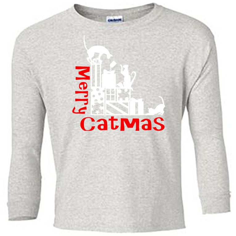 Merry Catmas Long Sleeve Shirt - Youth ash