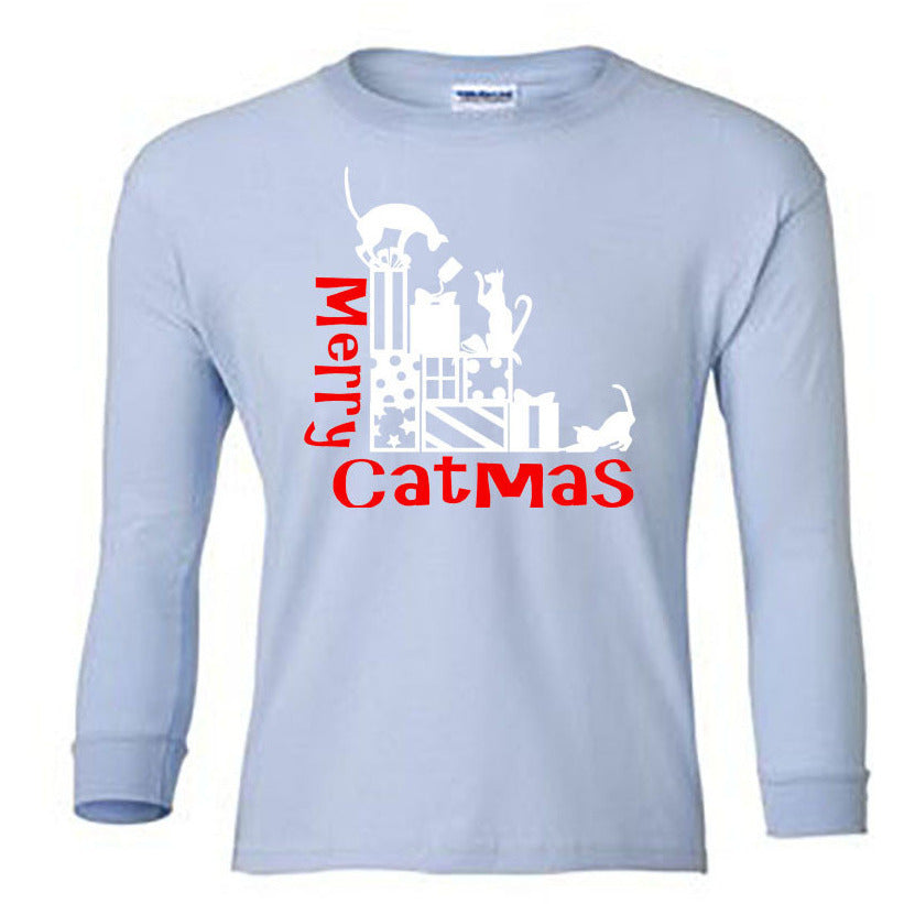 Merry Catmas Long Sleeve Shirt - Youth lt blue