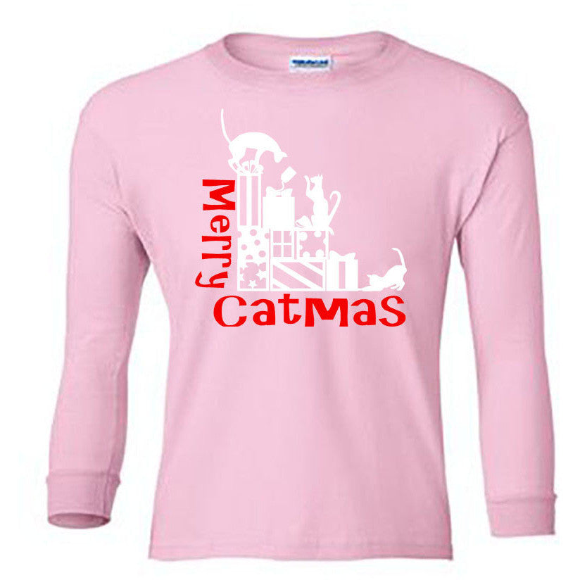 Merry Catmas Long Sleeve Shirt - Youth lt pink