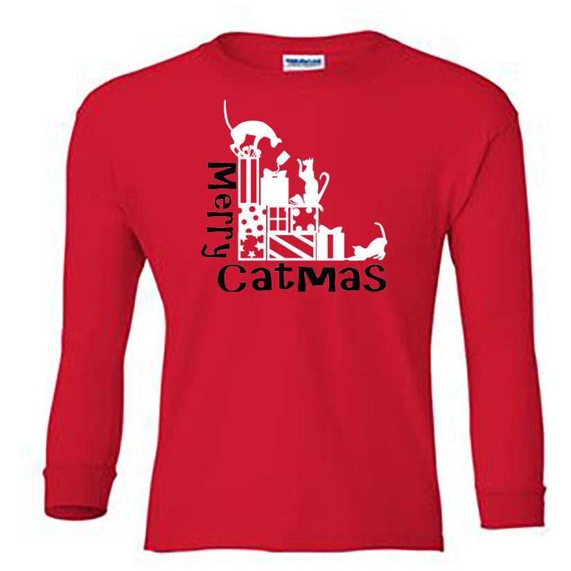 Merry Catmas Long Sleeve Shirt - Youth red
