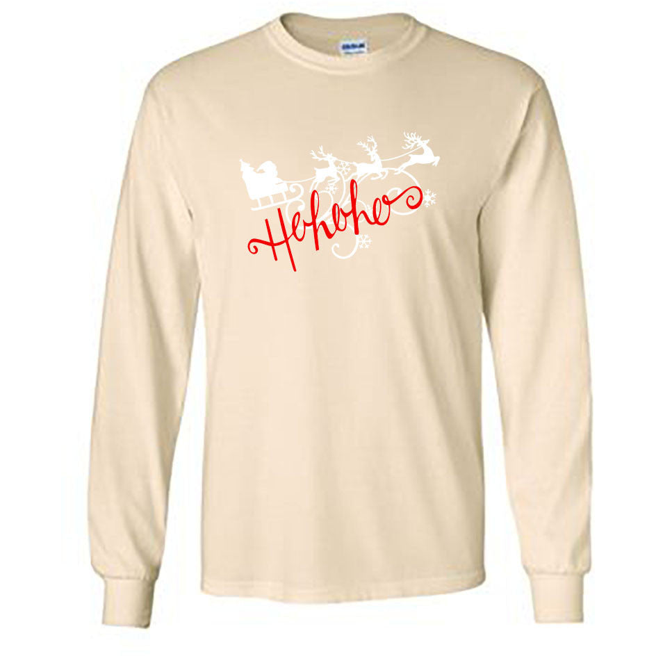 Ho Ho Ho Christmas Long Sleeve Shirt - Adult natural