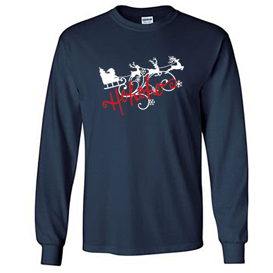 Ho Ho Ho Christmas Long Sleeve Shirt - Adult navy