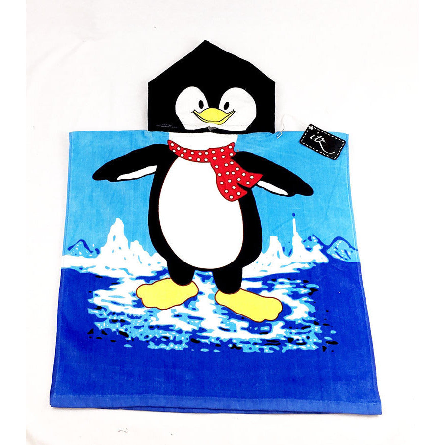 Penguin Children's Personalized Poncho Beach Towel front