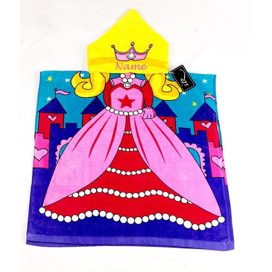 Princess Children's Personalized Poncho Beach Towel front