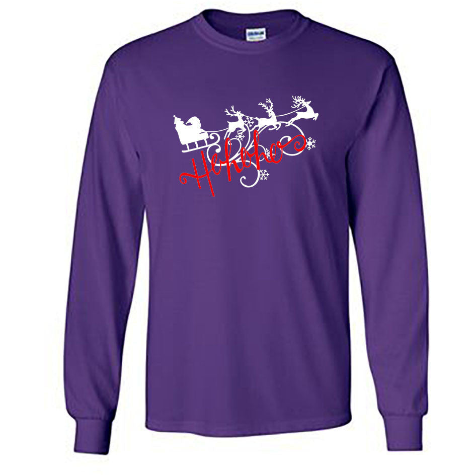 Ho Ho Ho Christmas Long Sleeve Shirt - Adult purple