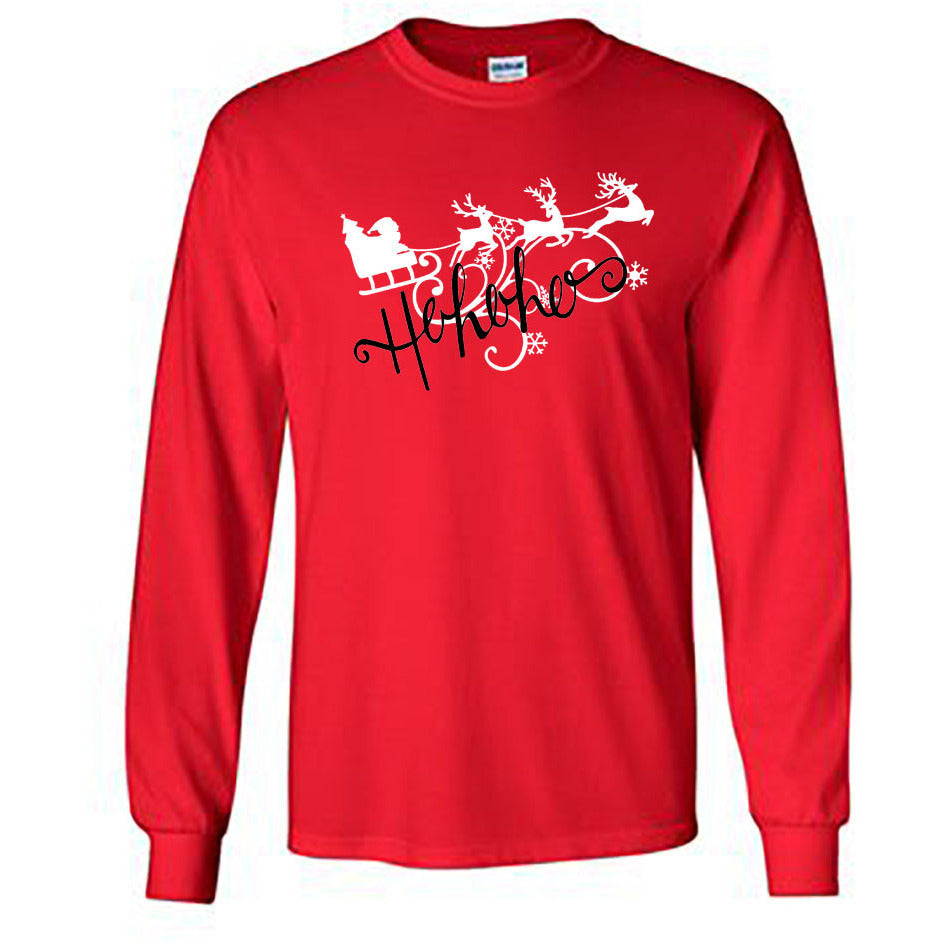 Ho Ho Ho Christmas Long Sleeve Shirt - Adult red