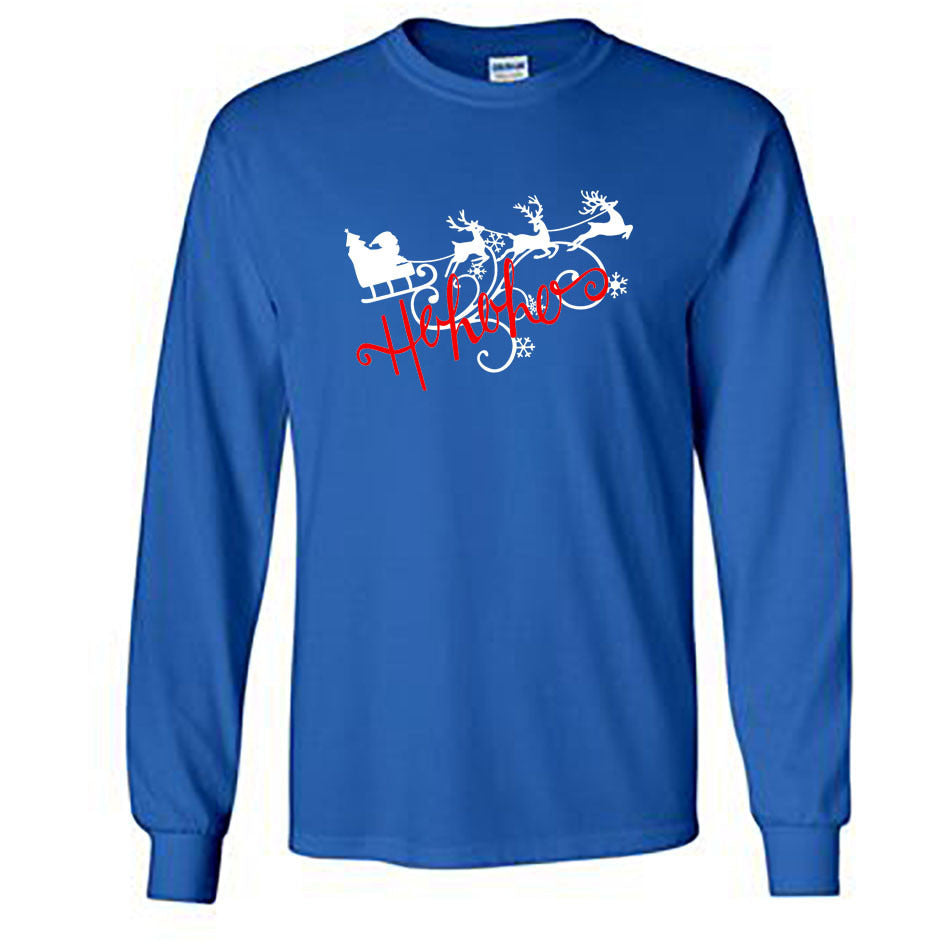 Ho Ho Ho Christmas Long Sleeve Shirt - Adult royal