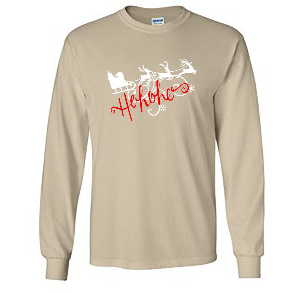 Ho Ho Ho Christmas Long Sleeve Shirt - Adult Sand