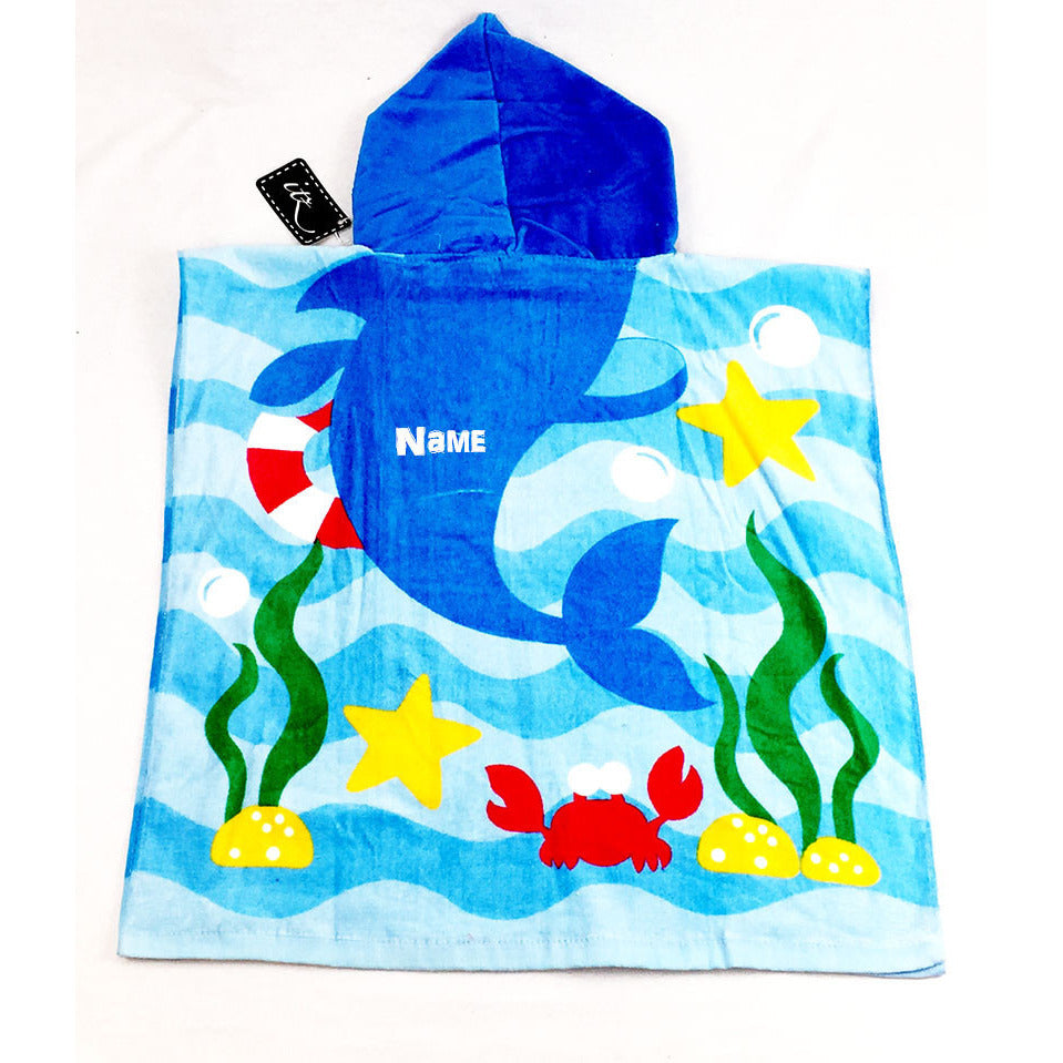 Shark Children's Personalized Poncho Beach Towel  back