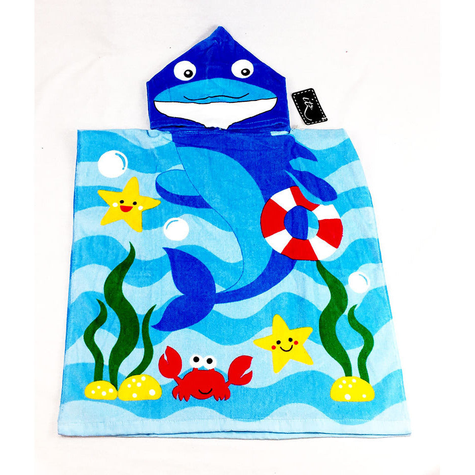 Shark Children's Personalized Poncho Beach Towel  front