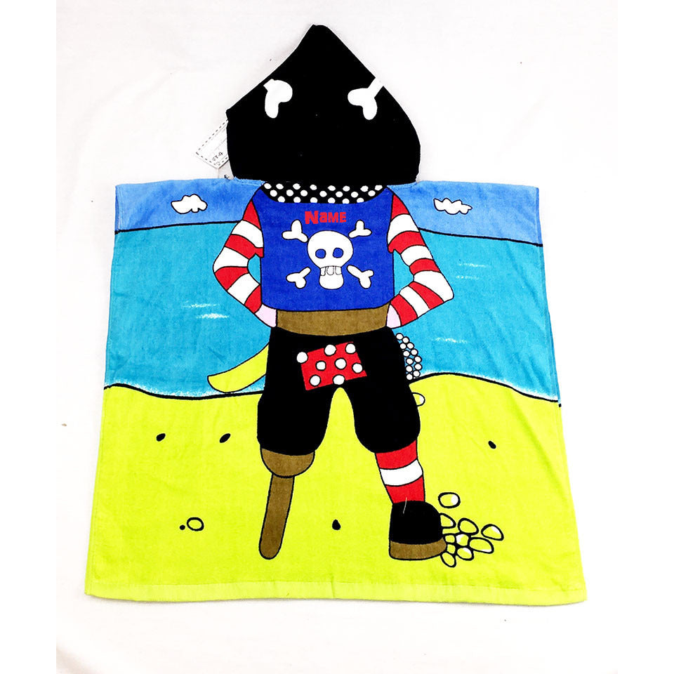 Pirate Childrern's Personalized Poncho Beach Towel back