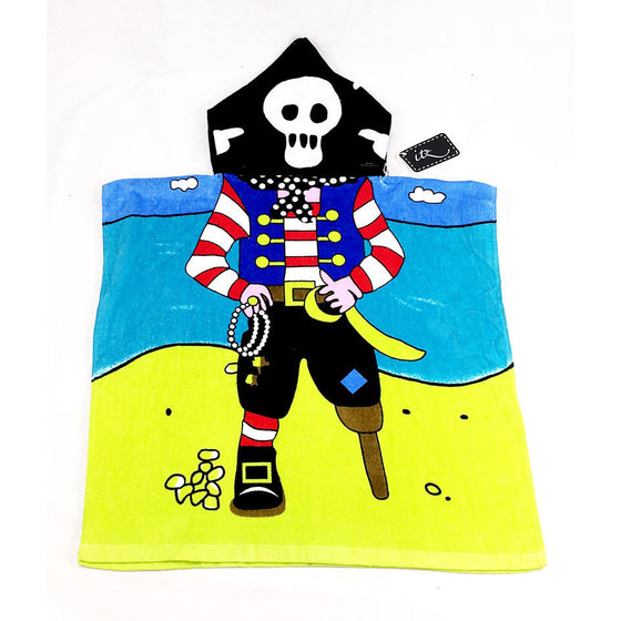 Pirate Childrern's Personalized Poncho Beach Towel front