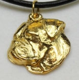 American Bulldog Hard Gold Plated Pendant