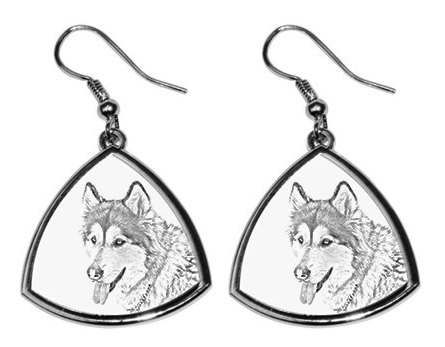 Alaskan Malamute Sliver Plated Earrings