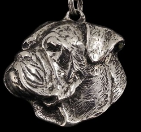 American Bulldog Silver Plated Key Chain