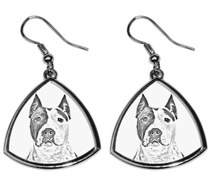 American Staffordshire Bull Terrier Staffy Silver Plated Earrings