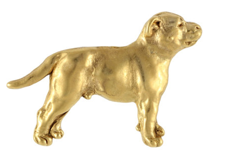 American Staffordshire Bull Terrier Staffy Hard Gold Plated Lapel Pin