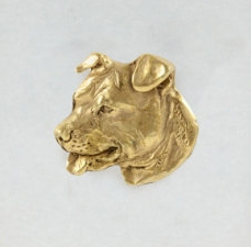 American Staffordshire Terrier Staffy Hard Gold Plated Lapel Pin