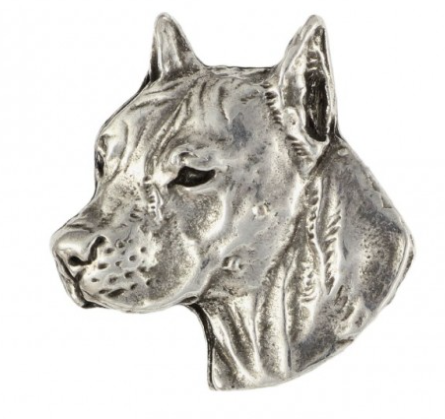 American Staffordshire Bull Terrier Staffy Silver Plated Lapel Pin