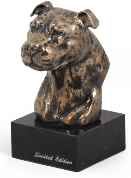 American Staffordshire Bull Terrier Staffy Statue Marble Base