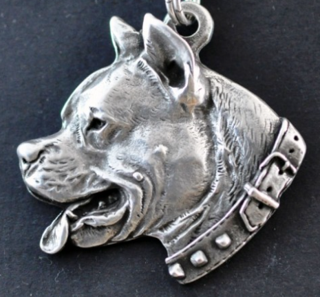 American Staffordshire Bull Terrier Staffy  Silver Plated Key Chain