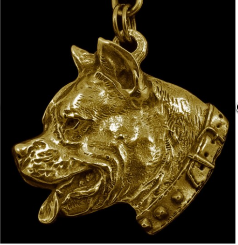 American Staffordshie Terrier Staffy Hard Gold Plated Key Chain