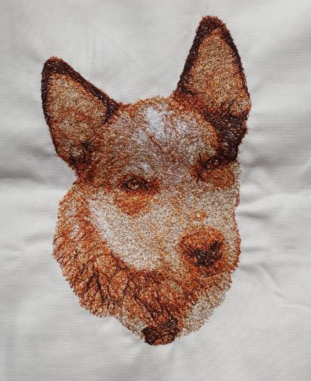 Australian Red Cattle Dog Embroidered Cushion Cover