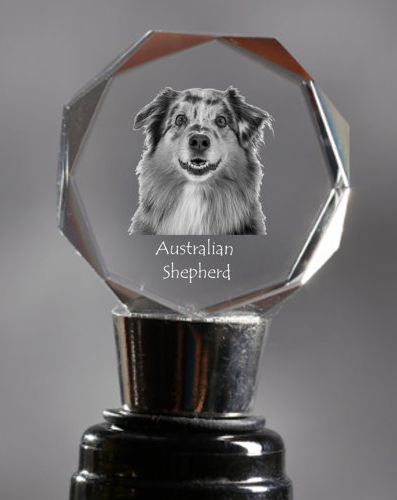Australian Shepherd Crystal Wine Stopper