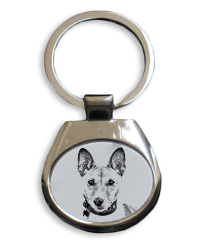 Basenji Silver Plated White Key Ring