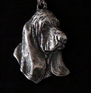 Basset Hound Silver Plated Key Chain