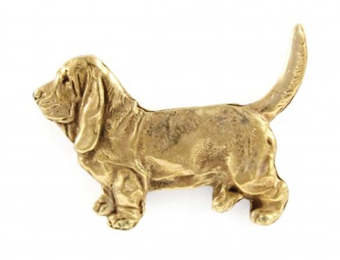 Basset Hound Hard Gold Plated Lapel Pin