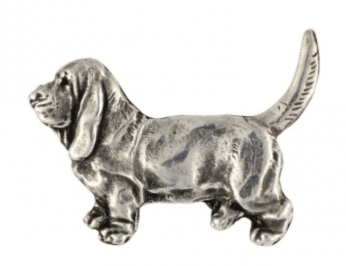 Basset Hound Hard Silver Plated Lapel Pin