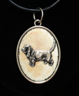 Basset Hound Silver Plated Pendant