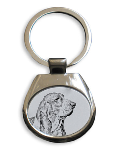 Basset Hound White Key Ring