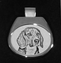 Beagle Silver Plated White Pendant