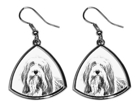 Bearded Collie Silver Plated Earrings
