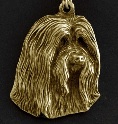 Bearded Collie Hard Gold Plated Key Chain