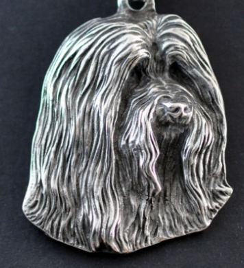 Bearded Collie Silver Plated Key Chain
