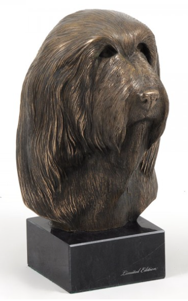Bearded Collie Statue Marble Base