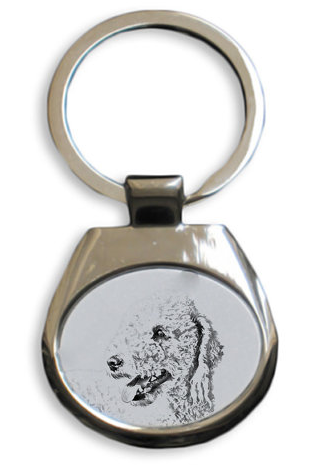 Bedlingtyon Terrier White Key Ring