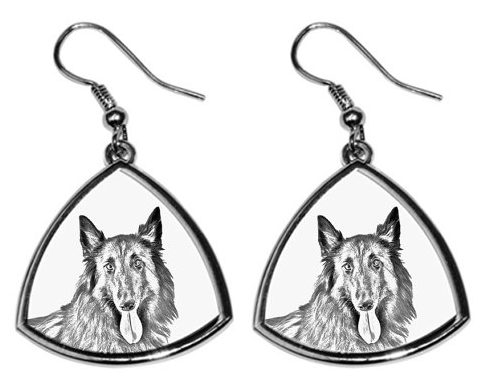 Belgian Shepherd Malinois White Earrings