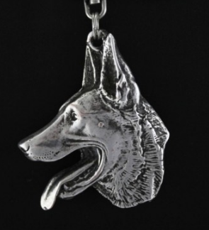 Malinois Belgian Shepherd Silver Plated Key Chain