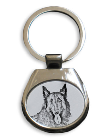 Belgian Shepherd Malinois White Key Ring