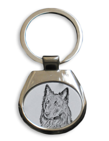 Belgian Shepherd White Key Ring