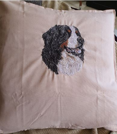Bernese Mountain Dog Embroidered Cushion Cover