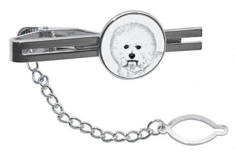 Bichon Silver Plated White Tie Pin