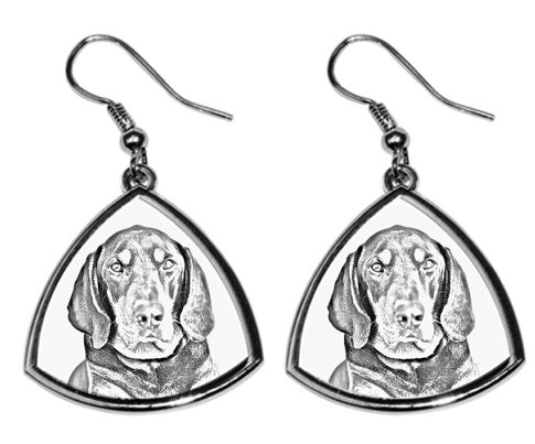 Black & Tan Coonhound Silver Plated Earrings